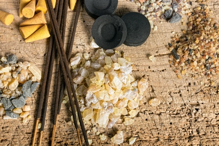 Frankincense: Charcoal and incense in granula, sticks and cones Stock Photo