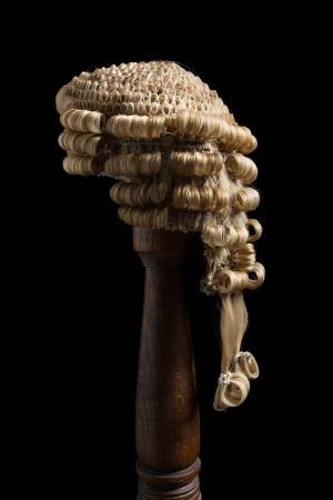 Side view of an antique barristers wig made of horsehair photo