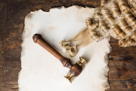 Blank parchment with judges wig and gavel