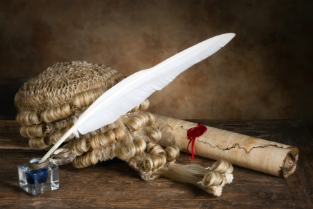 Genuine horsehair judges wig with parchment and quill photo