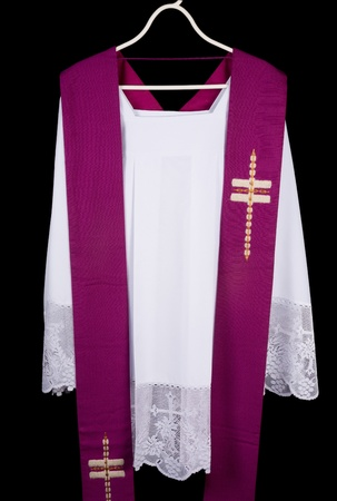 cleric: White priest surplice and purple stole as worn during confession and mass