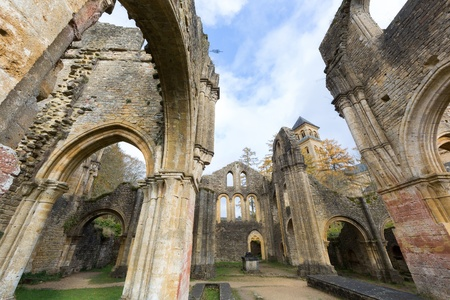 abbey: Ancient ruins of the famous 18th century Orval Abbey in the Gaum region in Belgium Stock Photo