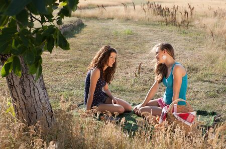 Close girl friends having a chat during a picnic in golden summer light photo