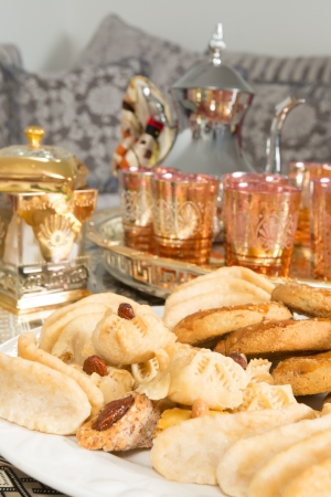 Typical cookies as presented by Moroccan women during ramadan period Stock Photo - 20180525