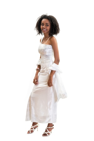 Young modern Ethiopian girl wearing traditional dress photo