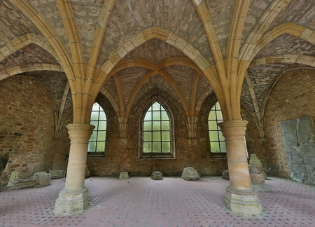 abbey: Old arches of the famous 18th century Orval Abbey in the Gaume region in Belgium   Stock Photo