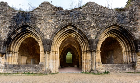 18th: Ancient arches of the famous 18th century Orval Abbey in the Gaum region in Belgium