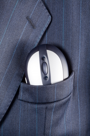 breast pocket: Computer mouse in a breast pocket of a formal business suit
