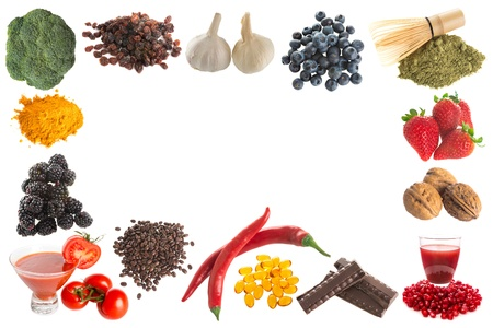 Border frame image of healthy antioxidants on a white background Stok Fotoğraf