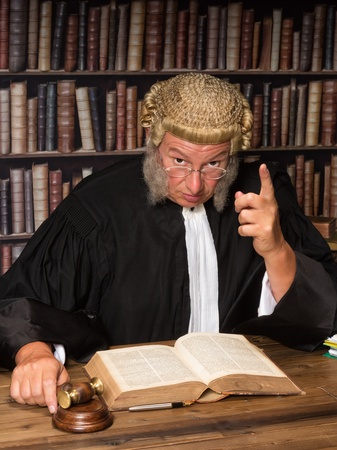 judge hammer: Judge with wig and gavel holding a speech to the convicted criminal