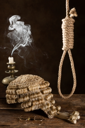 capital punishment: Capital punishment symbolized with judges wig and noose Stock Photo