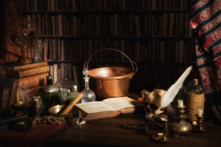 Halloween scene of a medieval alchemist kitchen or laboratory Stock Photo
