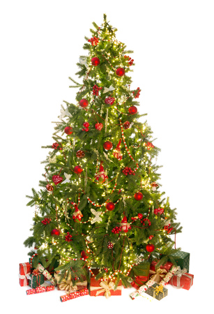 Beautiful christmas tree isolated on white with gifts and ornaments