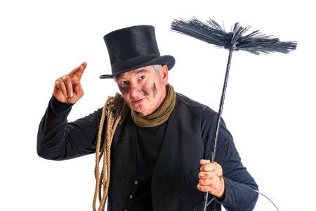 Grappige schoorsteenveger groet met zijn hoge hoed