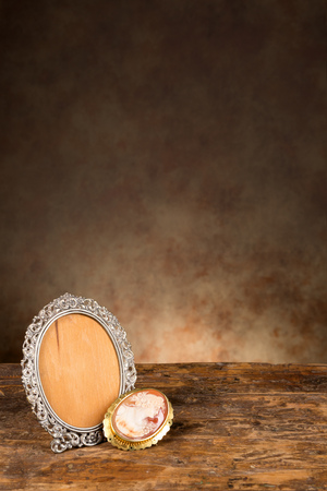 brooch: Baroque photo frame and a vintage cameo brooch