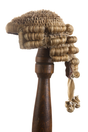 Isolated photo of an antique horsehair judges wig Stock Photo