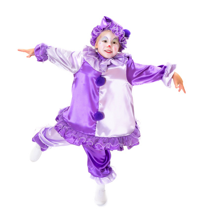 harlequin clown in disguise: Adorable dancing girl in clown costume posing as a marionette without strings