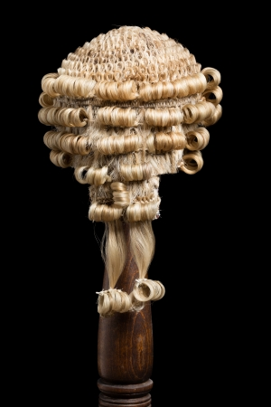 Back view of an authentic barristers or judges wig