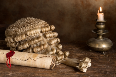 Genuine horsehair judges wig and a sealed parchment scroll