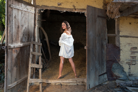 Beautiful young woman in lingerie posing in a grunge barn photo