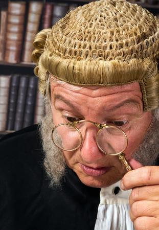 Vintage eyeglasses or lorgnette worn by an old judge