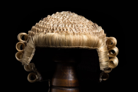 Front view of an antique horsehair lawyers wig