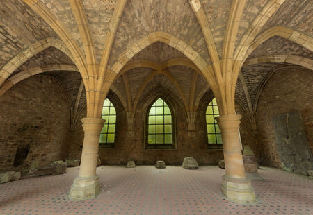 walloon: Restored arches of the famous 18th century Orval Abbey in the Gaume region in Belgium