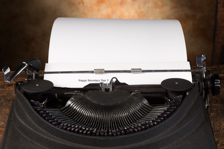 best wishes: Best wishes for Secretarys Day on an antique typewriter Stock Photo
