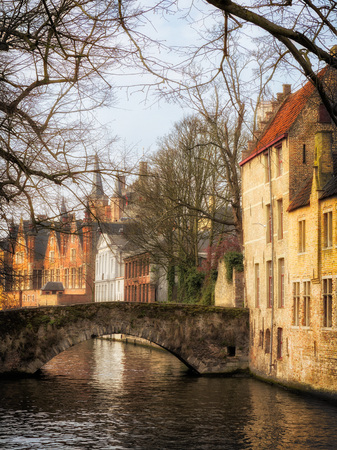 brugge: Romantic medieval Bruges, the most famous old city in Flanders, Belgium Stock Photo