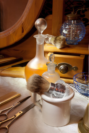 trimmers: Victorian barbershop with antique tools and bottles