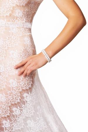 Elegant Bride recouvert de dentelle transparente Banque d'images