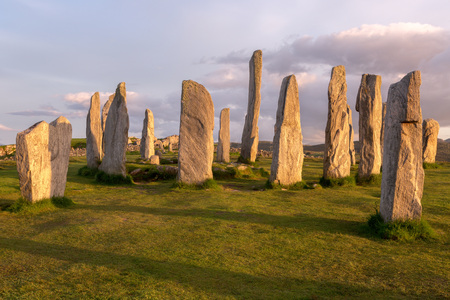 standing stones: Megalithic stone circle of 3000 bc on the Isle of Lewis and Harris, Outer Hebrides, Scotland in evening light Stock Photo