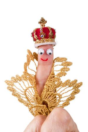 rey caricatura: Caricatura hecha de una marioneta de dedo que representa a un rey Foto de archivo