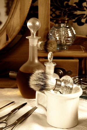 Vintage barber tools from victorian times in a barbershop