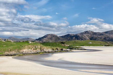 Low tide at Uig Beach on the Isle of Lewis and Harris, Outer Hebrides in Scotland 写真素材