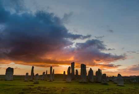 Megalithic stone circle of 3000 bc on the Isle of Lewis and Harris, Outer Hebrides, Scotland at sunset Banque d'images
