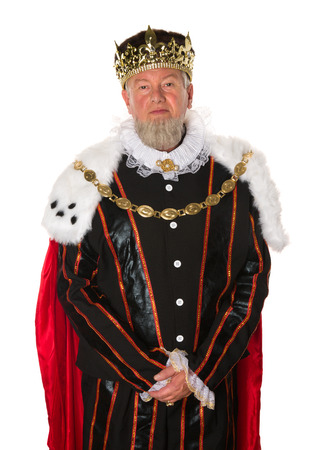 corona rey: Aislado medieval rey de pie para un retrato oficial