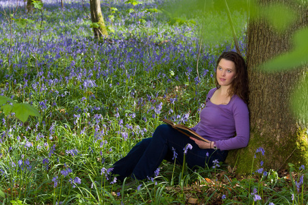 bluebells: Attractive young woman among millions of bluebells wildflowers Stock Photo