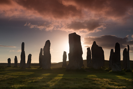 bc: Megalithic stone circle of 3000 bc on the Isle of Lewis and Harris, Outer Hebrides, Scotland at sunset Stock Photo