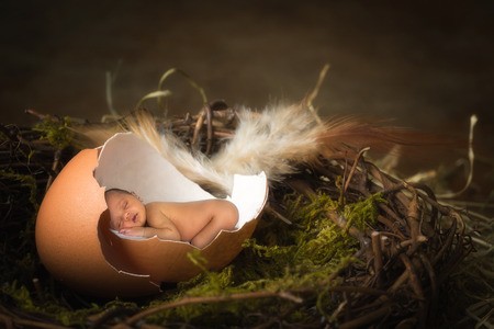 Tiny african baby sleeping in a broken egg