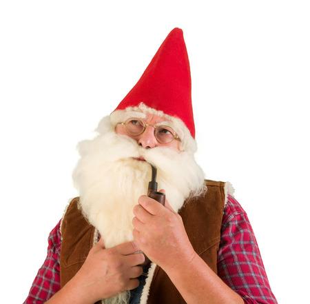 garden gnome: Serious garden gnome smoking an old pipe
