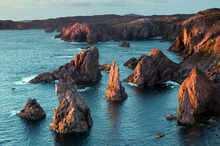 stack rock: Mangersta or Mangurstadh beach and sea stacks on the Isle of Lewis and Harris, Outer Hebrides, Scotland in soft evening light