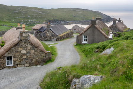 Village of ancient blackhouses on the Isle of Lewis, Outer Hebrides in Scotland Stok Fotoğraf