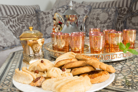 Typical cookies as presented by Moroccan women during ramadan period photo