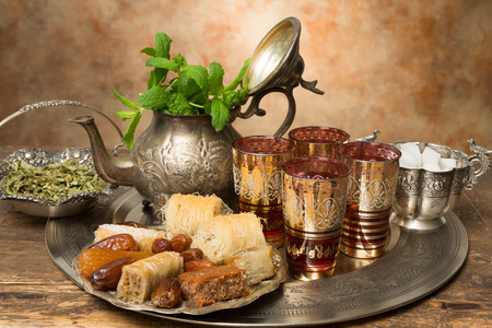 Honey cookies and dates on a Moroccan tea tray