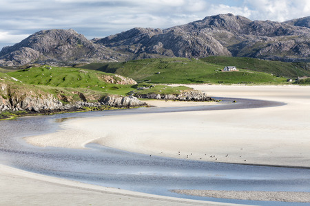 Low tide at Uig Beach on the Isle of Lewis and Harris, Outer Hebrides in Scotland Stok Fotoğraf