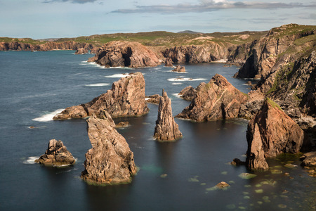 stack rock: Mangersta or Mangurstadh beach and sea stacks on the Isle of Lewis and Harris, Outer Hebrides, Scotland.