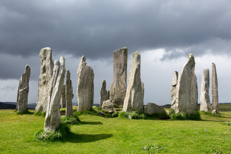 stone: Megalithic stone circle of 3000 bc on the Isle of Lewis and Harris, Outer Hebrides, Scotland in evening light Stock Photo