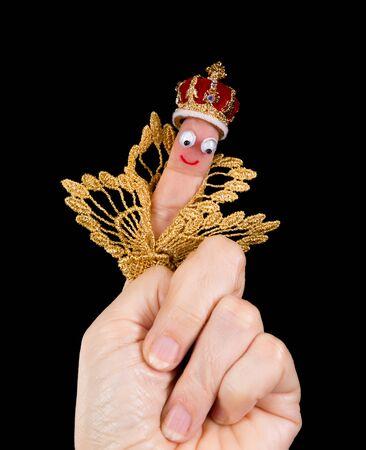 rey caricatura: Caricatura hecha de un títere de dedo que representa a un rey