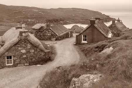 croft: Village of ancient blackhouses on the Isle of Lewis, Outer Hebrides in Scotland Stock Photo